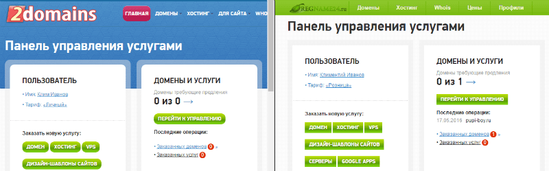 панели регистрации домено