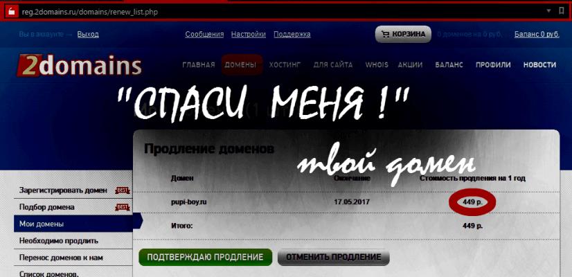 Продление домена 2domains.ru плохой